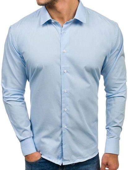 Blankytná pánska elegantá košeľa s dlhými rukávmi BOLF TS100