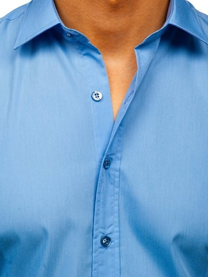 Blankytná pánska elegantná košeľa s dlhými rukávmi BOLF 1703