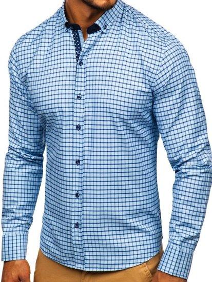 Blankytná pánska károvaná košeľa s dlhými rukávmi Bolf 9709