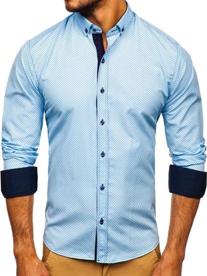 Blankytná pánska vzorovaná košeľa s dlhými rukávmi Bolf 9707