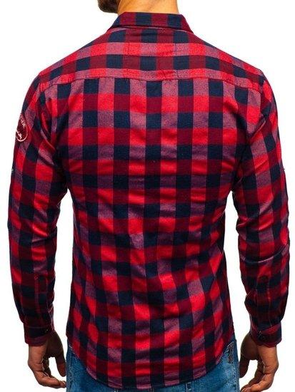 Červená pánska flanelová košeľa s dlhými rukávmi BOLF 2503
