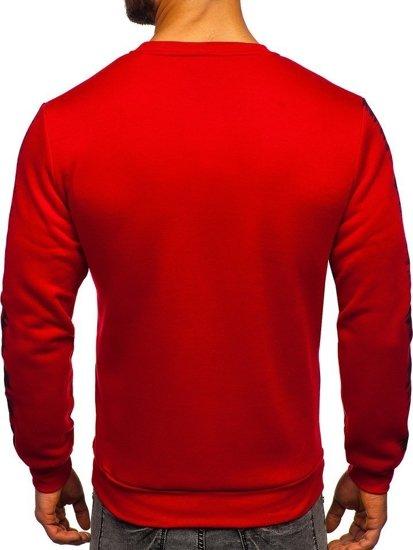 Červená pánska mikina bez kapucne s potlačou Bolf HY604