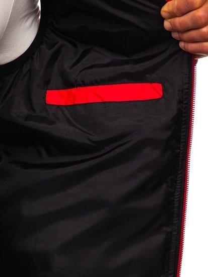 Červená pánska prešívaná vesta s kapucňou BOLF 5601
