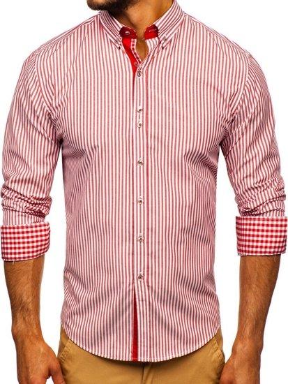 Červená pánska prúžkovaná košeľa s dlhými rukávmi Bolf 9711