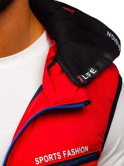 Červená pánska vesta s kapucňou BOLF 5805
