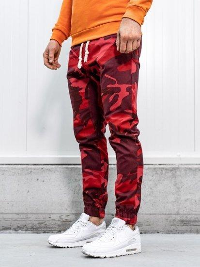 Červené maskáčové pánske joggery Bolf 0367