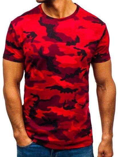 Červené maskáčové pánske tričko BOLF S807