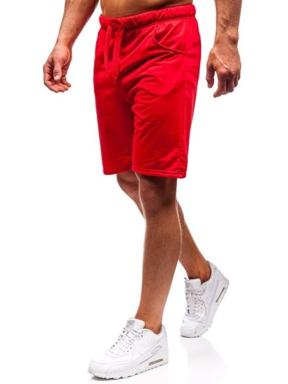 Červené pánske teplákové kraťasy BOLF B1002