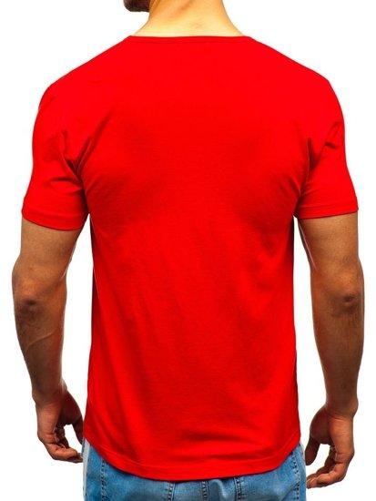 Červené pánske tričko bez potlače BOLF T1042