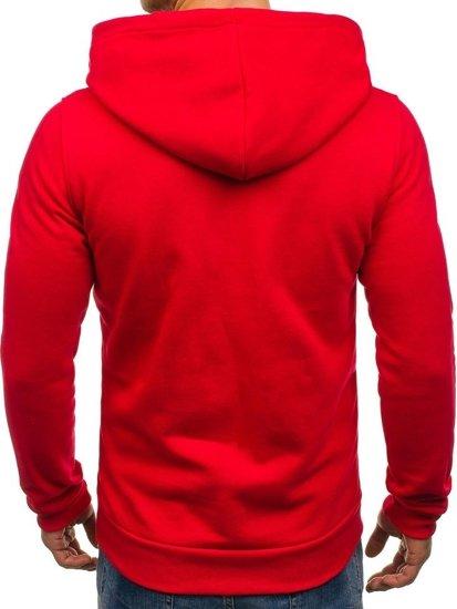Červeno-biela pánska mikina s kapucňou a potlačou BOLF 01S 7ffbef75a48