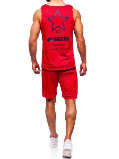 Červený pánsky komplet: tričko + kraťasy  BOLF 100777