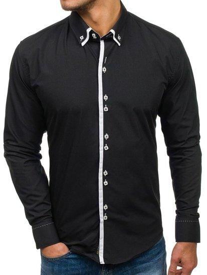 Čierna pánska elegantá košeľa s dlhými rukávmi BOLF 1721-A