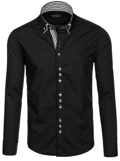 Čierna pánska elegantá košeľa s dlhými rukávmi BOLF 4703