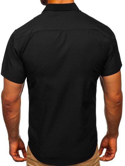 Čierna pánska elegantá košeľa s krátkymi rukávmi BOLF 7501
