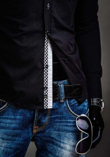 Čierna pánska elegantná košeľa s dlhými rukávmi BOLF 3704