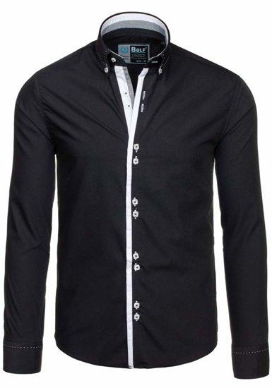 Čierna pánska elegantná košeľa s dlhými rukávmi BOLF 5814