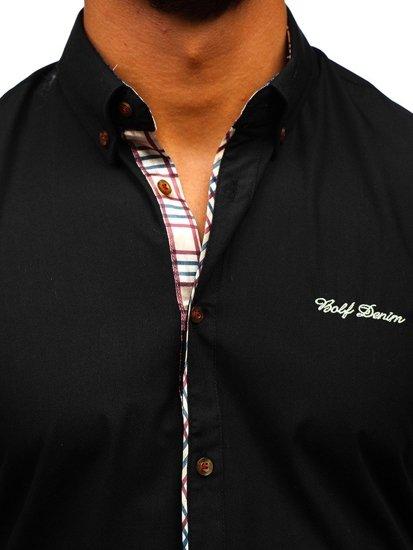 Čierna pánska elegantná košeľa s krátkymi rukávmi  Bolf 5509-1