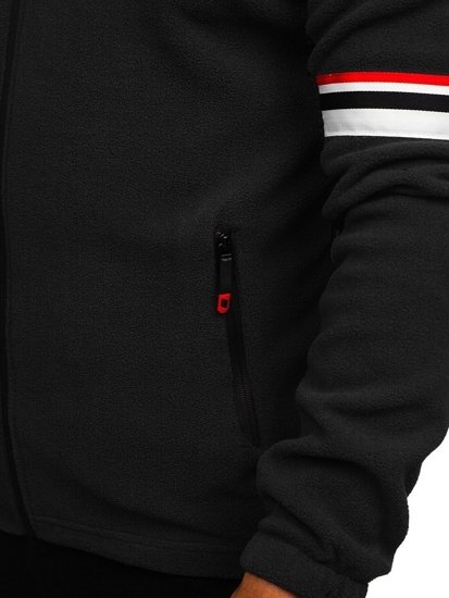Čierna pánska flísová mikina s kapucňou  Bolf YL001