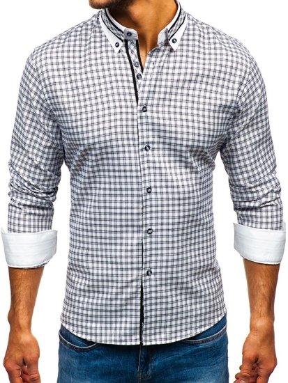 126347dd9a78 Čierna pánska károvaná košeľa s dlhými rukávmi BOLF 8808