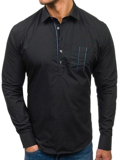 Čierna pánska košeľa s dlhými rukávmi BOLF 5791
