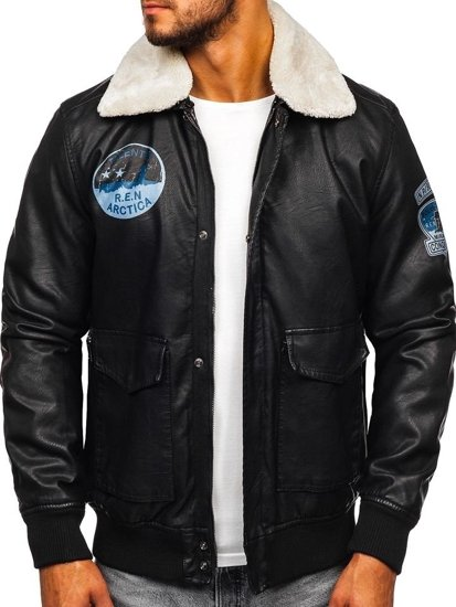 Čierna pánska letecká bunda z eko-kože BOLF 4794