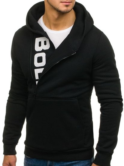 Čierna pánska mikina s kapucňou a potlačou BOLF 01S
