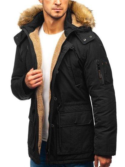 Čierna pánska zimná bunda parka BOLF 1071