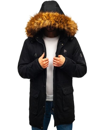 Čierna pánska zimná bunda parka BOLF R107