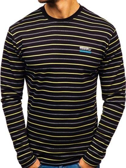 Čierne pánske prúžkované tričko s dlhými rukávmi nátelník BOLF 1519-1