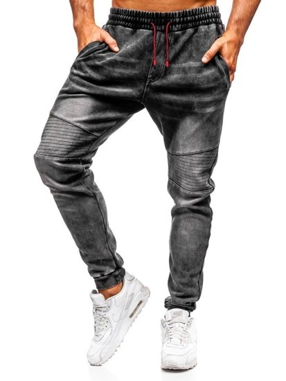 Čierne pánske rifľové joggery  Bolf KK1065