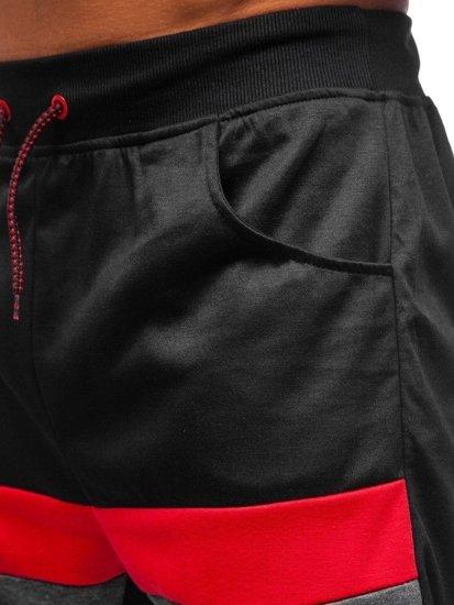 Čierne pánske teplákové kraťasy BOLF 81017