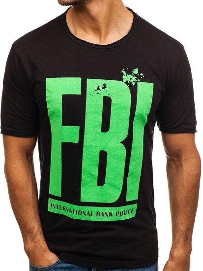3c3039369170 Čierne pánske tričko s potlačou BOLF 6295