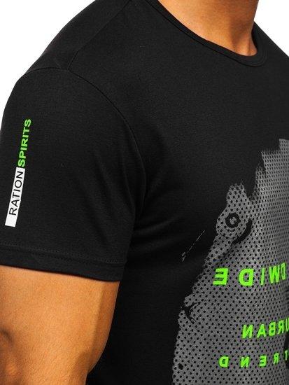 Čierne pánske tričko s potlačou Bolf SS10931