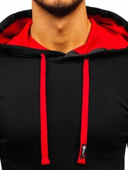 Čierno-červená pánska mikina s kapucňou BOLF 03-2