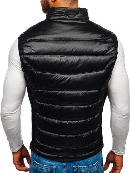 Čierno-modrá pánska prešívaná vesta BOLF K002