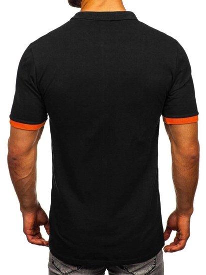 Čierno - oranžová pánska polokošeľa Bolf 171222-1