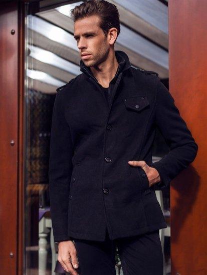Čierny pánsky plášť BOLF 8853B