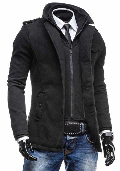 Čierny pánsky plášť BOLF 8853C