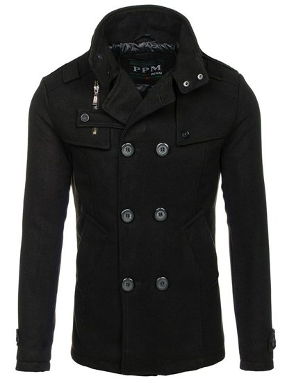 Čierny pánsky plášť BOLF 8857B