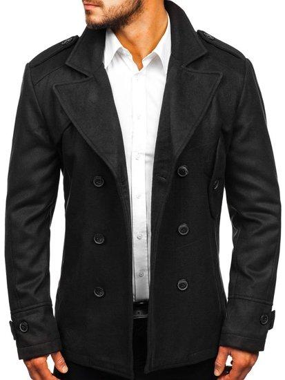 Čierny pánsky zimný kabát BOLF 3118