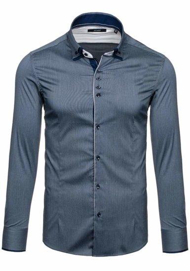 Grafitová pánska elegantná košeľa s dlhými rukávmi BOLF 7188