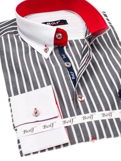 Grafitová pánska prúžkovaná košeľa s dlhými rukávmi BOLF 1771