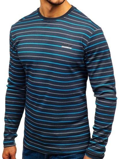 Grafitové pánske prúžkované tričko s dlhými rukávmi BOLF 1519-1