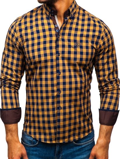 7a188da38599 Hnedá pánska károvaná košeľa s dlhými rukávmi BOLF 5816-A