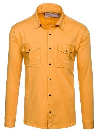 Horčicová pánska košeľa s dlhými rukávmi BOLF 2058-1