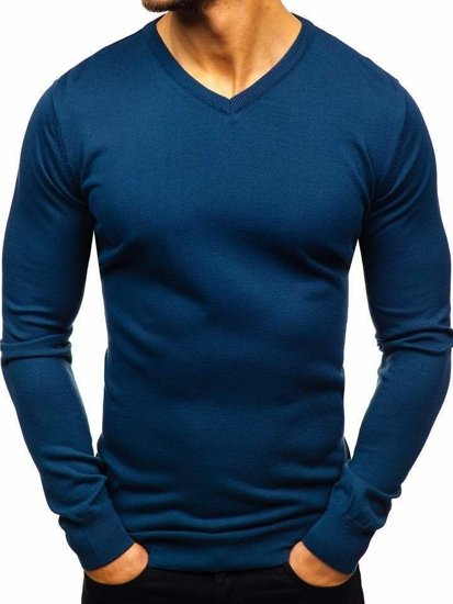 Indigo pánsky sveter s výstrihom do V Bolf2200