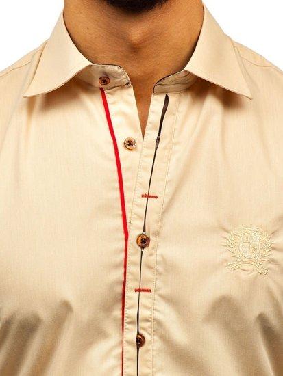 Kamelová pánska elegantná košeľa s dlhými rukávmi Bolf 1769