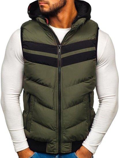 Khaki pánska vesta s kapucňou BOLF 5803