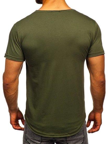 Khaki pánske tričko bez potlače Bolf 4049