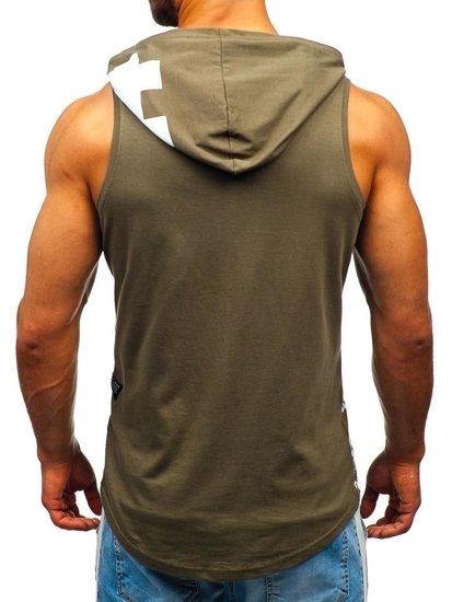 Khaki pánske tričko bez rukávov s potlačou a kapucňou BOLF 1285